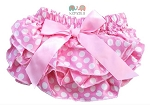 Pink and White Satin Ruffle Polka Dot Baby Bloomers