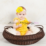 Yellow Rhinestone Headband and Yellow Lace Petti Romper Set