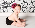 Hot Pink and Black Flower Satin Baby Headband and Ruffle Bloomer Set