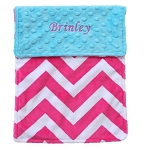 Personalized Hot Pink Chevron and Turquoise Minky Burp Cloth Baby Gift