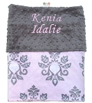 Personalized Vintage Pink Grey Damask Double Minky Blanket