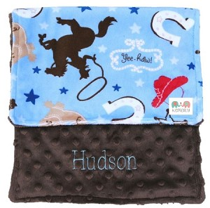 Personalized Blue Cowboy Minky Burp Cloth Baby Gift