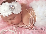 White Rhinestone Vintage Satin Baby Headband and Ruffle Bloomers Set