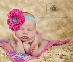 Fuchsia Flower and Turquoise Flower Baby Headband