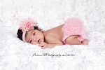 Pink Lotus Flower Baby Headband and Pink Ruffle Bloomers Set