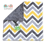Grey Yellow Multi Chevron Double Minky Binky Blanket