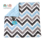 Baby Blue and Grey Chevron Double Minky Binky Blanket