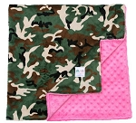 Camo on Hot Pink Double Minky Baby Blanket