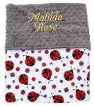 Personalized Ladybug Double Minky Baby Blanket