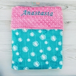 Personalized Teal Dandelion Double Minky Baby Blanket