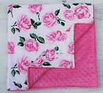 Vintage Rose on Hot Pink Double Minky Baby Blanket