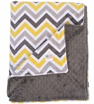 Yellow Grey Multi Chevron Double Minky Baby Blanket