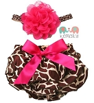 Hot Pink Flower Giraffe Baby Headband and Bloomers