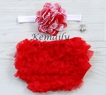Red White Shabby Lace Baby Headband and Red Ruffle Bloomers
