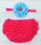 Turquoise and Hot Pink Rhinestone Satin Baby Headband Ruffle Bloomers