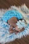 White and Turquoise Chiffon Flower Baby Headband