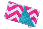 Hot Pink Chevron on Teal Double Baby Minky Burp Cloth
