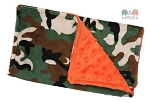 Camo on Orange Double Baby Minky Burp Cloth