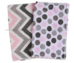 Pink Grey Chevron Polka Dot Double Minky Burp Cloth Set