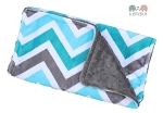 Turquoise Grey Chevron Double Minky Burp Cloth