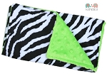 Zebra on Lime Double Minky Burp Cloth