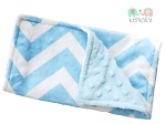 Blue Chevron Double Baby Minky Burp Cloth