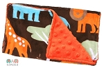 Boys Orange Jungle Animal Double Minky Burp Cloth