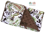 Brown Paisley Double Baby Minky Burp Cloth