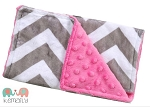 Grey Chevron On Hot Pink Double Baby Minky Burp Cloth