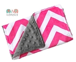 Hot Pink Chevron and Grey Double Baby Minky Burp Cloth