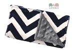 Navy Chevron Grey Double Baby Minky Burp Cloth