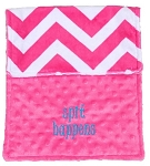 Personalized Hot Pink Chevron Spit Happens Burp Cloth Baby Gift