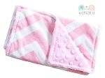 Pink Chevron Double Baby Minky Burp Cloth