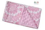 Pink Damask Double Minky Burp Cloth