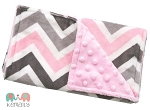 Pink Grey Multi Chevron Double Baby Minky Burp Cloth
