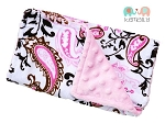 Pink Paisley Double Baby Minky Burp Cloth