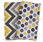 Yellow Grey Chevron Polka Dot Double Minky Burp Cloth Set