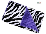 Zebra on Purple Double Baby Minky Burp Cloth