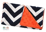 Navy Chevron Orange Double Minky Burp Cloth
