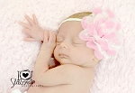 Pink and White Chiffon Flower Baby Headband