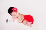 Red Satin Rhinestone Flower Baby Headband