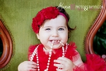 Red Chiffon Rosette Trio Baby Headband