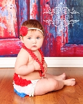 Red and White Polka Dot Chiffon Rosette Baby Headband