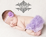Lavender Rhinestone Flower Satin Baby Headband and Matching Bloomers