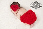 Red Rosette Heart Baby Headband