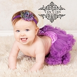 Purple Peacock Chiffon Flower Baby Headband