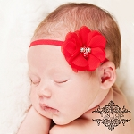 Red Pearl and Rhinestone Flower Headband