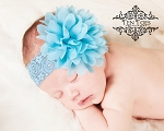 Blue Chiffon Lace Baby Headband