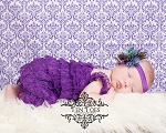 Purple Peacock Chiffon Lotus Flower Baby Headband