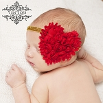 Red Heart on Gold Glitter Baby Headband